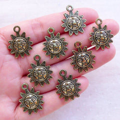 Solar Charms / Sun Pendant (8pcs / 16mm x 20mm / Antique Gold) Astrology Astronomy Celestial Jewelry Bracelet Earrings Wine Charms CHM2388