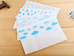 "Cute Glassine Envelopes with Cloud & Raindrop Pattern / Kawaii Waxed Paper Envelope (4pcs / 17.5cm x 12.5cm / 6.88"" x 4.92"" / Blue) S432"