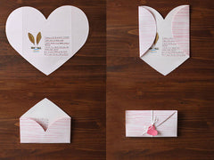 "Love Letter Envelopes / Origami Heart Envelopes (2pcs / 14cm x 8cm / 5.51"" x 3.14"") Wedding Party Favor Invitation Card Valentines Day S435"