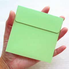 "Square Envelopes (10pcs / 10cm x 10cm / 3.93"" x 3.93"" / Green) Small Card Envelope Lunch Box Notes Tooth Fairy Letter Party Favor S437"
