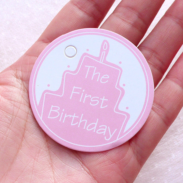 The First Birthday Tags 10pcs 50mm Pink New Born Baby Party