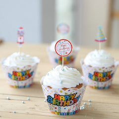 Happy Birthday Cupcake Wrappers & Assorted Toppers (4 Sets / Colorful) Fairy Cake Patty Cake Cup Cake Decoration Bakery Packaging CUP36