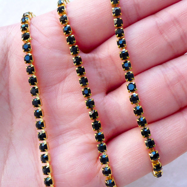 SS12 Rhinestones Chain (Gold Plated w/ Black Rhinestones) (20cm Long) Phone Decoration Jewellery Making Sewing Supplies Scrapbooking A060