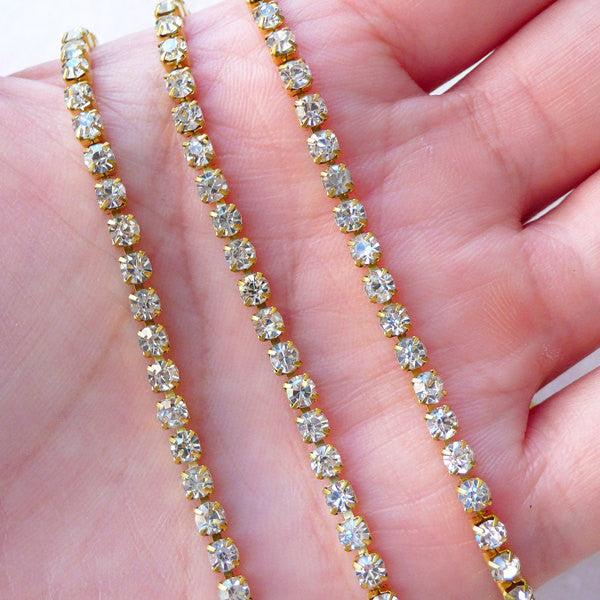 Clear Rhinestones Chain in 3mm (Gold Plated w/ Clear Rhinestones) (20cm Long) Phone Embellishment Bling Jewelry Making Wedding Supplies A061