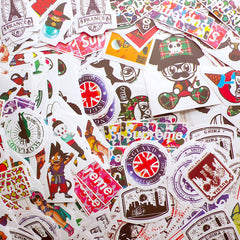 Assorted Waterproof Stickers / Suitcase Sticker / Luggage Label (10pcs by RANDOM) Laptop Decoration Embellishment Collage Scrapbook S453