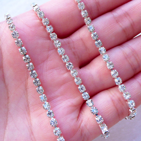 3mm Rhinestones Chain (Silver Plated w/ Clear Rhinestones) (20cm Long) Bridesmaid Bridal Jewelry Making Bling Bling Decoration Decoden A057