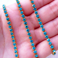 3mm Rhinestones Chain (Gold Plated w/ Aqua Blue Rhinestones) (20cm Long) Jewellery Making Bling Bling Embellishment Decoden Phone Case A058