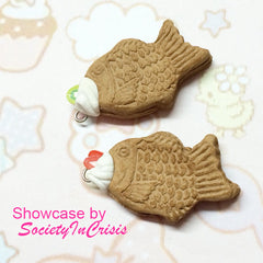 Taiyaki Fish Mold 37mm Silicone Mold Flexible Mold Decoden Kawaii Miniature Sweets Fimo Polymer Clay Dollhouse Food Cabochon Charms MD135