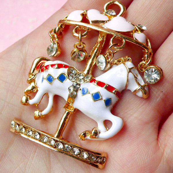 Kawaii Carousel Charm with Rhinestones / Large Merry Go Round Pendant / Big Metal Roundabout Cabochon (35mm x 49mm) Necklace Jewelry CAB167