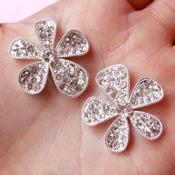 Rhinestone Flower Cabochon / Bling Bling Floral Metal Cabochon (2pcs / 26mm / Silver with Clear Rhinestones) Hair Bow Center Supplies CAB117