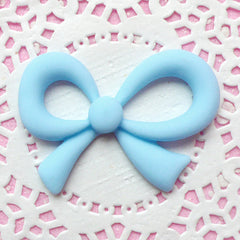 Decoden Ribbon Cabochon / Cute Resin Cabochon (47mm x 32mm / Pastel Blue / Flatback) Kawaii Fairy Kei Phone Case Deco Embellishment CAB141