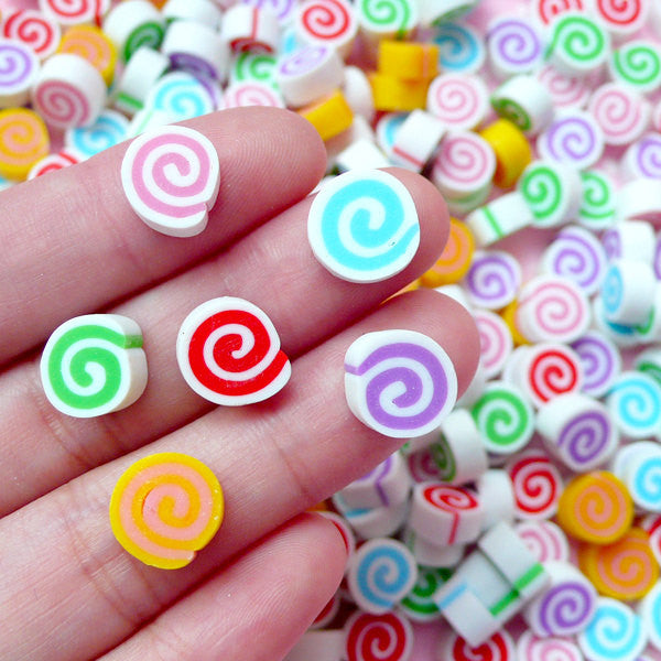 Polymer Clay Sweets Cabochon Fimo Swiss Roll Cabochons (6pcs / 10mm x 5mm) Cell Phone Deco Fake Food Jewelry Kawaii Beads Making FCAB073