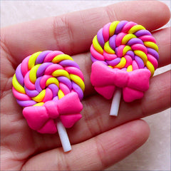 Cute Lollipop Cabochons / Kawaii Lolly with Ribbon / Polymer Clay Candy Cabochon (2pcs / 25mm x 37mm / Pink) Fake Fimo Sweets Deco FCAB435