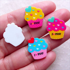 Laser Cut Acrylic Cabochon / Colorful Cupcake Cabochon Mix (4pcs / 17mm x 19mm / Flatback) Kawaii Scrapbooking Sweets Jewelry Making FCAB438