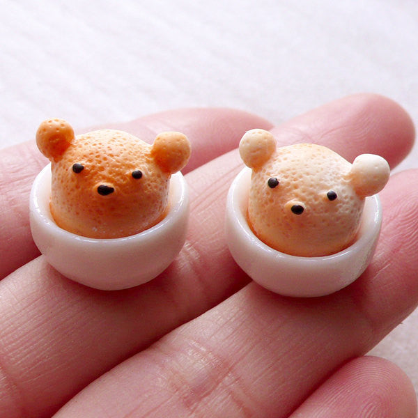 Miniature Coffee Cabochon with 3D Latte Art / Kawaii Bear in a Bowl (2pcs / 16mm x 15mm) Dollhouse Cafe Doll Food Supply Sweets Deco FCAB443