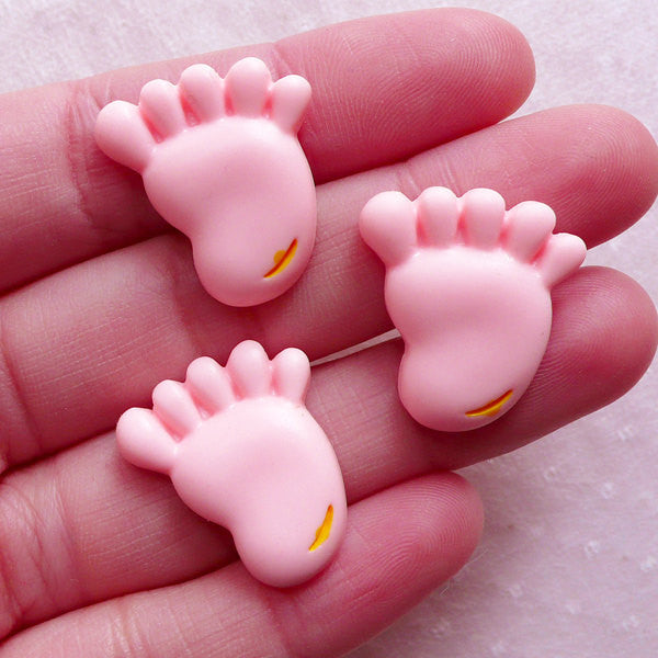 Baby Foot Cabochons / Pink Footprint Cabochon (3pcs / 20mm x 22mm / Flatback) New Baby Shower Decoration Table Scatter Scrapbooking CAB560