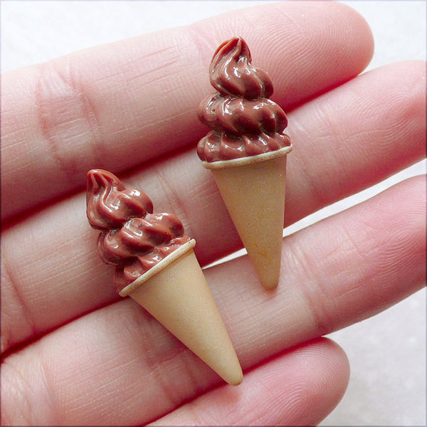 Miniature Chocolate Ice Cream Cabochon in 3D (2pcs / 11mm x 31mm) Doll Food DIY Dollhouse Dessert Sweets Deco Kawaii Phone Case FCAB432
