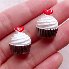 Miniature Dollhouse Food / Cupcake Cabochon with Heart Toppping (2pcs / 14mm x 17mm / 3D) Mini Sweets Jewellery Decoden Phone Case FCAB439