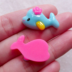 CLEARANCE Ocean Fish Cabochon / Whale Cabochons / Sea Animal Cabochons (2pcs / 25mm x 15mm / Blue & Pink / Flat Back) Baby Hair Jewelry Making CAB559