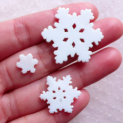 Glitter Snowflake Cabochons White Snow Flake Cabochon (3pcs / 10mm, 20mm & 31mm / Assorted Mix / Flatback) Christmas Scrapbooking CAB561