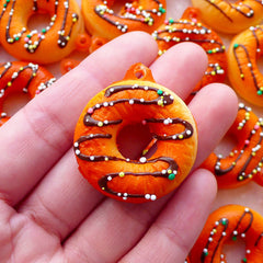 Doughnut Squishy Charm / Kawaii Squishy / Fake Donut Charm with Sprinkles (30mm x 35mm / Chocolate Brown) Super Cute Decoden Supplies SQ12