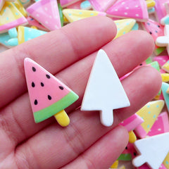 Watermelon Ice Cream Bar Cabochon / Fruit Popsicle (3pcs by Random / 18mm x 29mm / Pastel Color Mix) Cute Scrapbook Mixed Media Art FCAB453