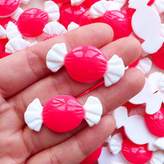 Taffy Candy Cabochons / Resin Bow Tie Candy / Fake Bowtie Candy (2pcs / 36mm x 17mm / Flatback) Cute Cabochon Kawaii Decoden Pieces FCAB456