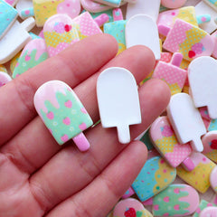 Kawaii Pastel Cabochon Popsicle Cabochon Ice Cream Cabochon (3pcs by Random / 15mm x 28mm) Hair Clip DIY Sweets Deco Decoden Piece FCAB459