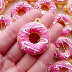 Kawaii Squishy Charm / Donut Squishy / Fake Doughnut Charm with Sprinkles & Frosting (30mm x 35mm / Strawberry Pink) Phone Charm Making SQ10