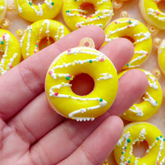 Donut Squishy Charm / Kawaii Charm / Faux Doughnut Squishy with Sprinkles & Frosting (30mm x 35mm / Lemon Yellow) DIY Dust Plug Charm SQ11