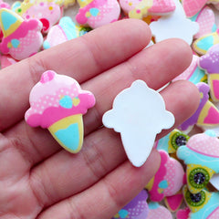 Pastel Ice Cream Cabochons (3pcs by Random / 23mm x 28mm / Flatback) Kawaii Scrapbooking Planner Clip Making Fairy Kei Jewellery FCAB455