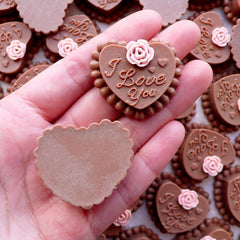 Doll Food Cabochon / Miniature Chocolate Cake Cabochon / I Love You Heart Cake (2pcs / 36mm x 32mm) Wedding Valentines Day Decor FCAB458