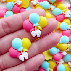 Colorful Balloon Cabochon / Resin Decoden Cabochon (2pcs / 24mm x 22mm / Flatback) Baby Shower Party Embellishment Hair Bow Center CAB573