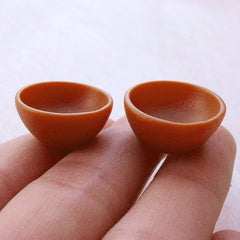 Dollhouse Bowl Cabochons / Tiny Mini Rice Bowls (4pcs / 19mm x 9mm / Brown) Miniature Food Making Mini Doll House DIY Fake Food Craft MC48