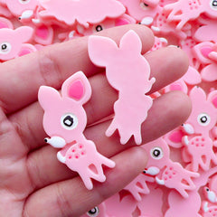 Kawaii Bambi Cabochon / Resin Animal Deer Cabochons (2pcs / 24mm x 39mm / Pink / Flatback) Baby Shower Table Scatter Decoden Pieces CAB564