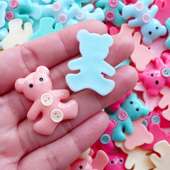 Pastel Bear Cabochons Kawaii Animal Cabochon (3pcs by Random / 24mm x 29mm) Cute Baby Shower Decor Table Scatter Decora Kei Decoden CAB565