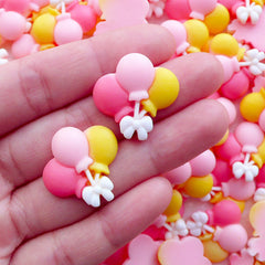Kawaii Cabochon / Colorful Balloon Cabochon (2pcs / 24mm x 22mm / Pink & Yellow / Flat Back) Party Decoration Table Scatter Scrapbook CAB566