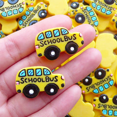CLEARANCE Resin Cabochon / Yellow School Bus Cabochons (2pcs / 28mm x 18mm) Back to School Scrapbook Preschooler Jewelry Planner Clip Making CAB567
