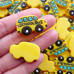 Resin Cabochon / Yellow School Bus Cabochons (2pcs / 28mm x 18mm) Back to School Scrapbook Preschooler Jewelry Planner Clip Making CAB567
