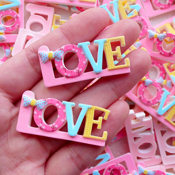 Letter Love Cabochons (2pcs / 40mm x 18mm / Pastel Color / Flat Back) Wedding Party Decoration Table Scatter Valentines Day Decor CAB571