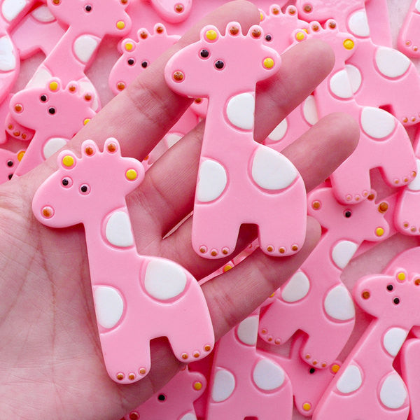 Large Giraffe Cabochons / Resin Animal Cabochon (2pcs / 38mm x 66mm / Pink / Flat Back) Big Decoden Pieces Baby Shower Decoration CAB572