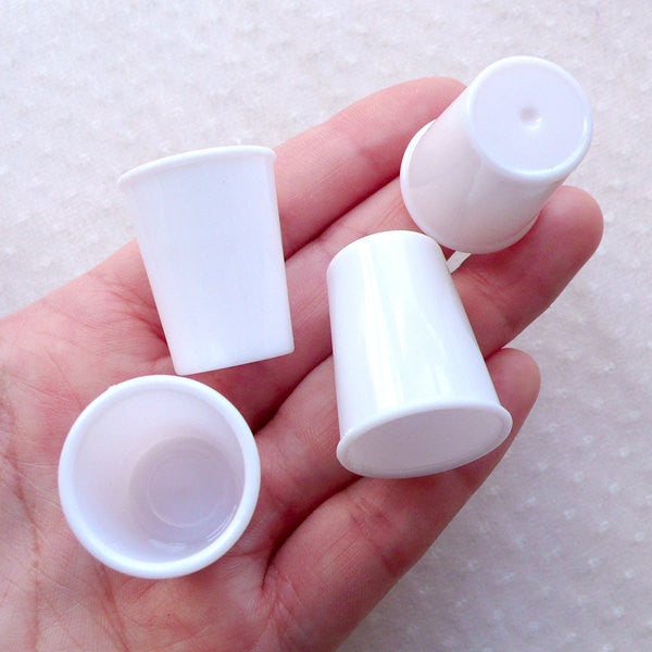Dollhouse Miniature Doll Food Making / Mini Plastic Tall Cups / Cafe Coffee Cup Blank (4pcs / 22mm x 28mm / White) Fake Food Craft MC53