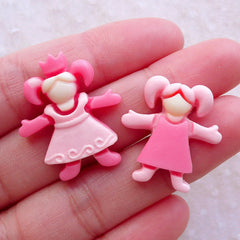Pink Girl Cabochons (2pcs / 21mm & 23mm / Flat Back) Baby Hair Bow Centers Scrapbook Toddler Jewelry Baby Shower Decor Table Scatter CAB574