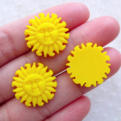 Resin Cabochon / Sun Face Cabochons (3pcs / 20mm / Flatback) Hair Bow Center Scrapbook Beach Embellishment Small Trinkets Card Making CAB575