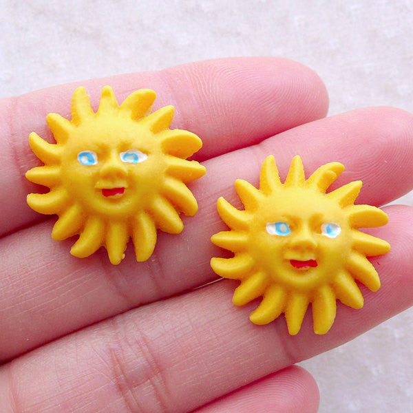 Sun Face Cabochons (2pcs / 22mm / Flat Back) Toddler Hair Pin Making Beach Scrapbooking Resin Embellishment Baby Hair Bow Centers CAB576