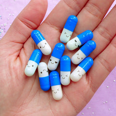 Fake Pill Cabochons / Wish Pill Capsule with Blank Message Paper (10pcs / 21mm / Blue) Wishing Letter Secret Note Happy Stationery CAB583