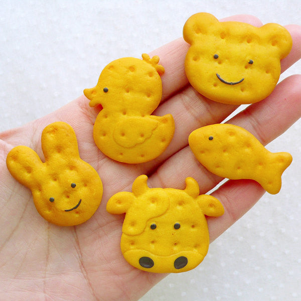 Animal Biscuit Cabochons (5pcs / 26-38mm / Fish Duck Bear Rabbit Cow) Kawaii Phone Case Sweets Deco Fake Food Jewelry Decoden Piece FCAB464