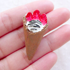 Miniature Sweets Cabochon / Dollhouse Ice Cream Crepe Cone Cabochon (Chocolate / 19mm x 39mm) 3D Decoden Piece Kawaii Phone Case FCAB467