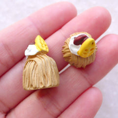 CLEARANCE Miniature French Pastries / Dollhouse Mont Blanc Cabochon (2pcs / 15mm x 22mm) Fake Dessert Jewelry Doll Food Patisserie Sweets Deco FCAB472