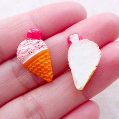 Kawaii Sweets Deco / Strawberry Ice Cream Cabochons (2pcs / 13mm x 20mm / Pink) Hair Bow Centers Mini Food Jewelry Decoden Craft FCAB477